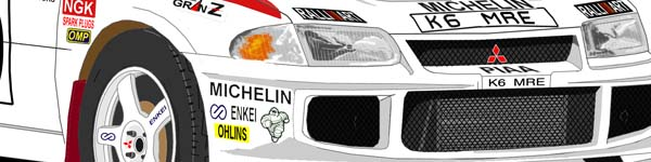 Mitsubishi Evo II Sweden Rally 1995 Kenneth Eriksson close up