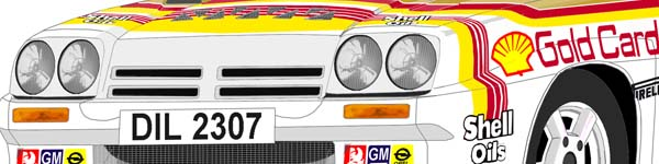 Opel Manta 400National Breakdown Rally 1984 Bertie Fisher close up
