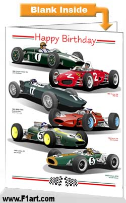 F1 1960s Birthday Card