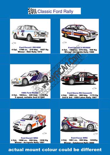 Ford Rally cars mounted cards print