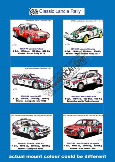 Lancia Rally cars mounted cards print