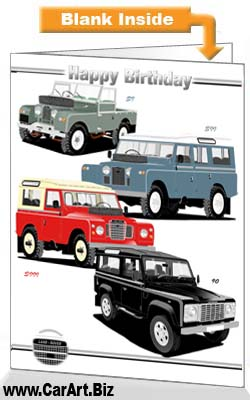 Classic Land Rover Cars Birthday Card