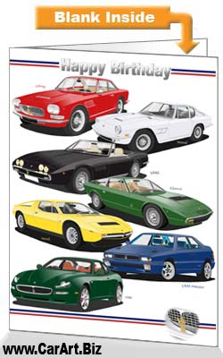 Classic Maserati Cars Birthday Card