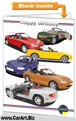 Classic Mazda MX-5 Cars Birthday Card