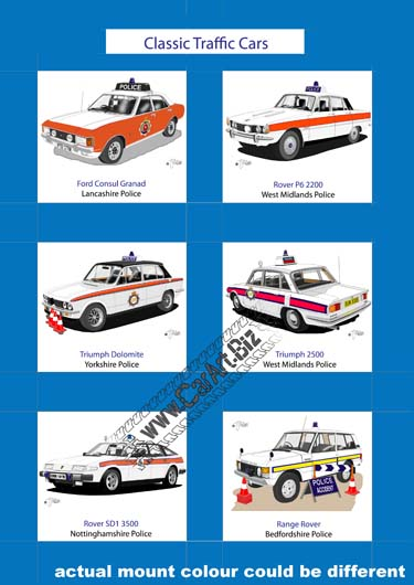 Classic Traffic Police Cars Print