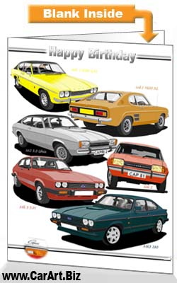 Classic Ford Capri Cars Birthday Card