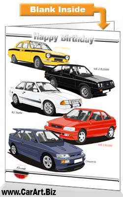 Classic Ford Escort Cars Birthday Card