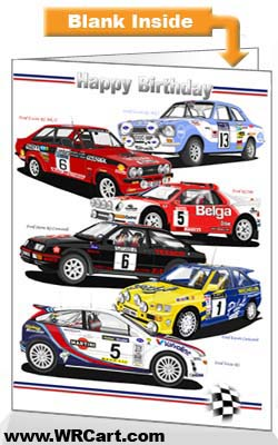 Classic Ford Rally Cars Birthday Card