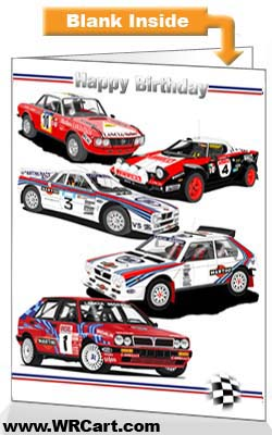Classic Lancia Rally Cars Birthday Card