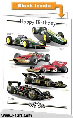 F1 Lotus Birthday Card