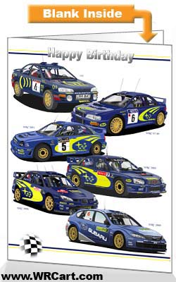 Subaru Impreza Rally Cars Birthday Card