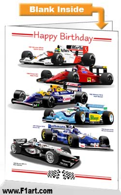 F1 1990s Birthday Card