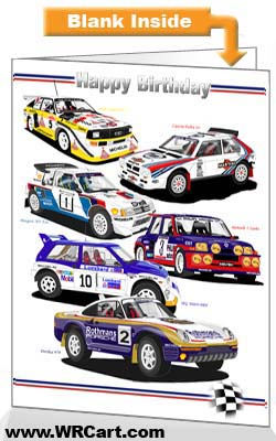 Classic Group B Rally Cars Birthday Card