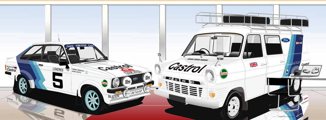 Ford Transit rally service barge and Ford Escort Monte Carlo 1977